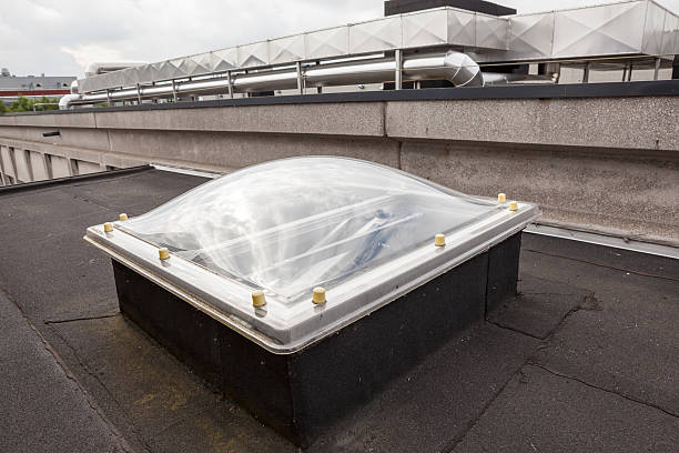 Plastic Dome of a row house on a flat roof